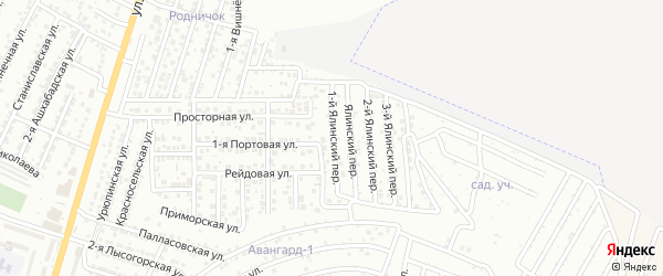 Ялинский переулок на карте Астрахани с номерами домов