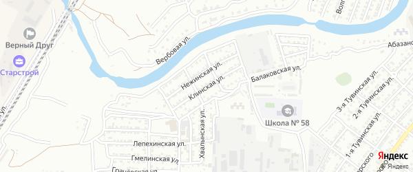Клинская улица на карте Астрахани с номерами домов