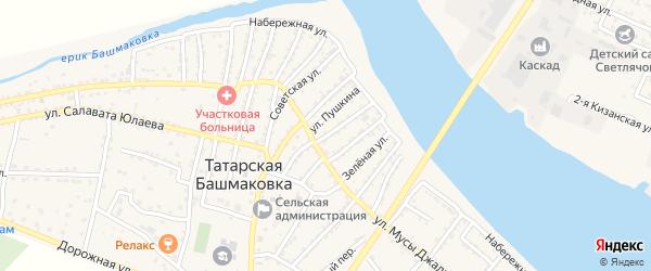Комсомольская улица на карте села Татарской Башмаковки с номерами домов