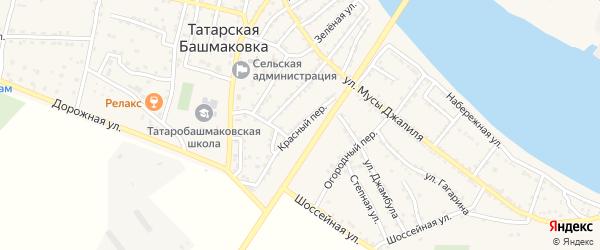 Красный переулок на карте села Татарской Башмаковки с номерами домов