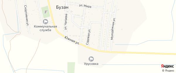 Садовая улица на карте поселка Бузана с номерами домов
