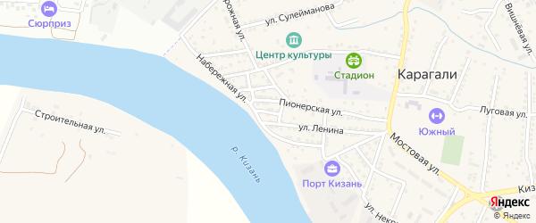 Улица Пушкина на карте села Карагали с номерами домов