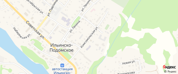 Комсомольская улица на карте Ильинско-Подомского села с номерами домов