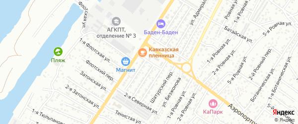 Затонская 1-я улица на карте Астрахани с номерами домов