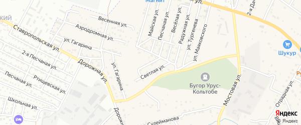Восточная улица на карте села Карагали с номерами домов