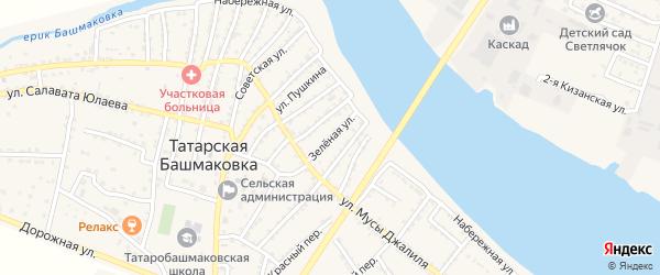 Зеленая улица на карте села Татарской Башмаковки с номерами домов