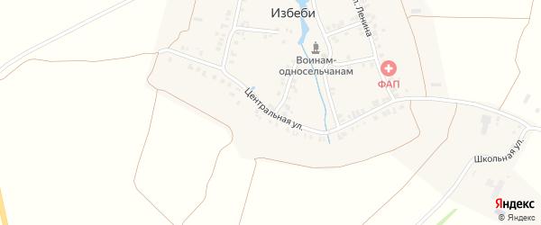 Центральная улица на карте деревни Избеби с номерами домов