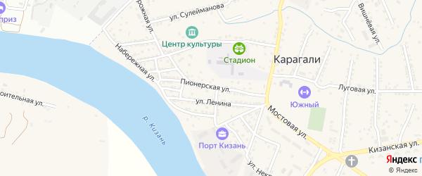 Пионерская улица на карте села Карагали с номерами домов