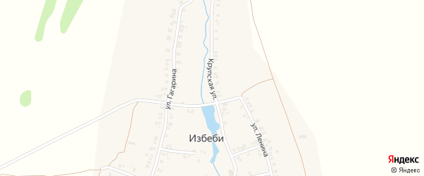 Крупская улица на карте деревни Избеби с номерами домов