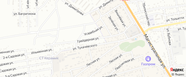 Грейдерная улица на карте Астрахани с номерами домов