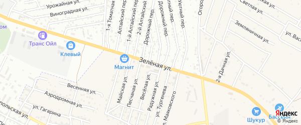 Зеленая улица на карте села Карагали с номерами домов