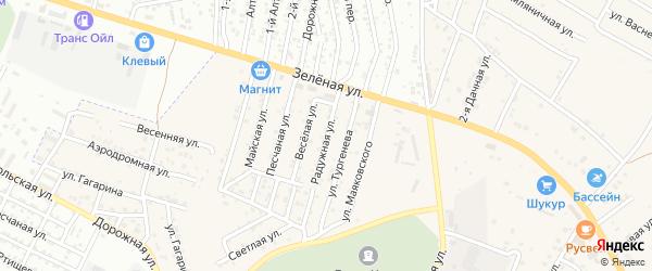 Радужная улица на карте села Карагали с номерами домов