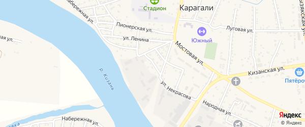 Советская улица на карте села Карагали с номерами домов