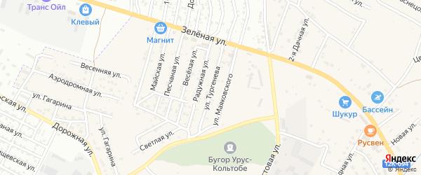 Улица Тургенева на карте села Карагали с номерами домов