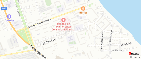 Улица Монтажников на карте Астрахани с номерами домов