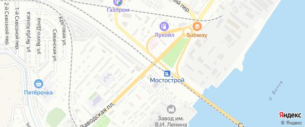 Железнодорожный 1-й переулок на карте Астрахани с номерами домов