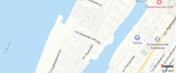 Ульяновский 7-й переулок на карте Астрахани с номерами домов