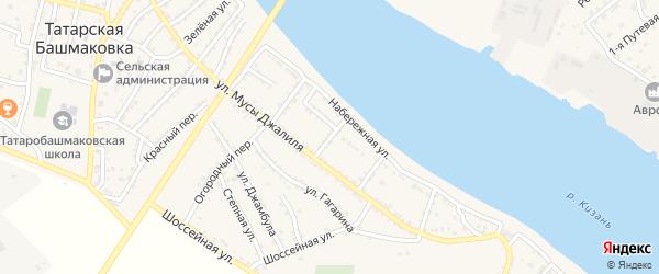 Речной переулок на карте села Татарской Башмаковки с номерами домов