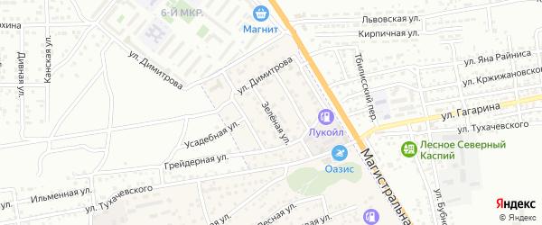 Зеленая улица на карте села Солянки с номерами домов