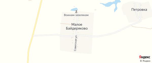 Советская улица на карте поселка Малого Байдеряково с номерами домов