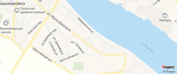 Переулок Нахимова на карте села Татарской Башмаковки с номерами домов