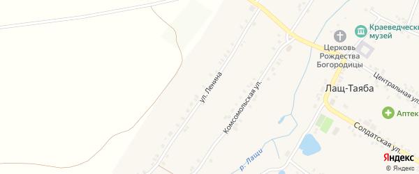 Комсомольская улица на карте села Лаща-Таяба с номерами домов