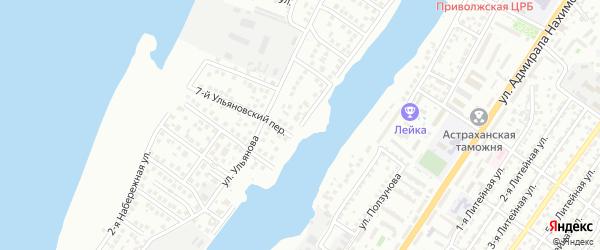 Набережная Золотого затона 1-я улица на карте Астрахани с номерами домов