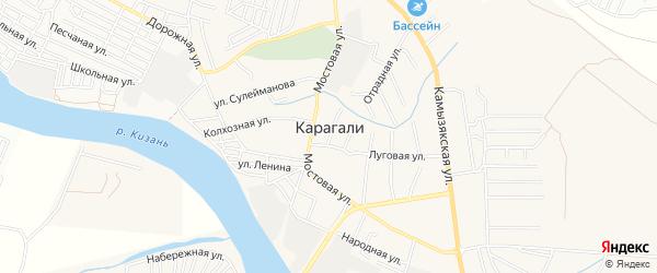 СТ сдт Лайнер на карте села Карагали с номерами домов