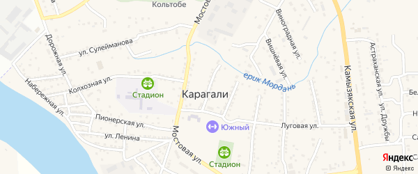 Улица К.Маркса на карте села Карагали с номерами домов