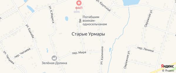Шоссейная улица на карте деревни Старые Урмары с номерами домов