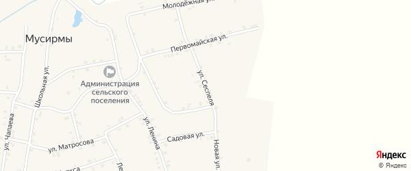 Улица Сеспеля на карте села Мусирмы с номерами домов