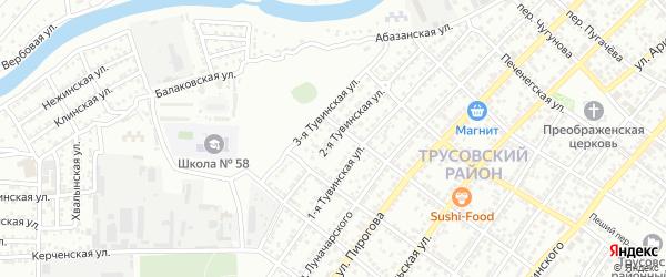 Тувинская 2-я улица на карте Астрахани с номерами домов