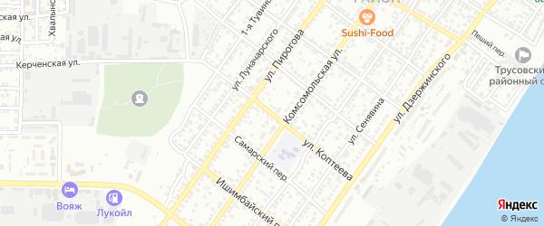 Улица Коптеева на карте Астрахани с номерами домов