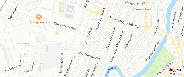 Малый переулок на карте Астрахани с номерами домов