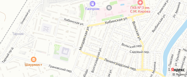 Садовый 2-й переулок на карте Астрахани с номерами домов