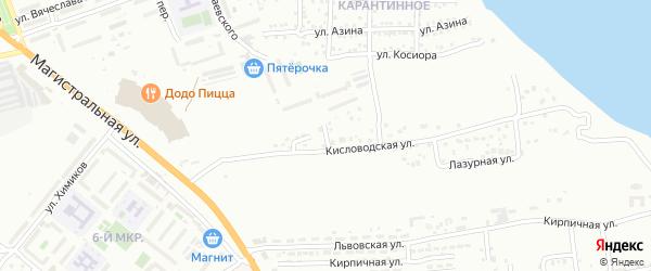 Кисловодский переулок на карте Астрахани с номерами домов