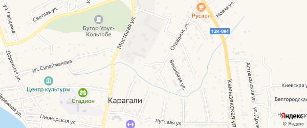 Улица С.Юлаева на карте села Карагали с номерами домов