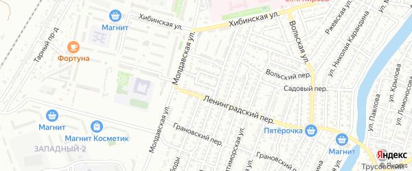 Пограничный переулок на карте Астрахани с номерами домов