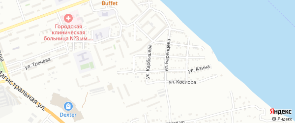 Улица Карбышева на карте Астрахани с номерами домов