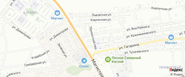 Тбилисский переулок на карте Астрахани с номерами домов