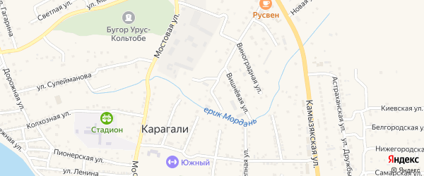 Грушевая улица на карте села Карагали с номерами домов