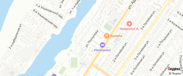 Улица Ползунова на карте Астрахани с номерами домов
