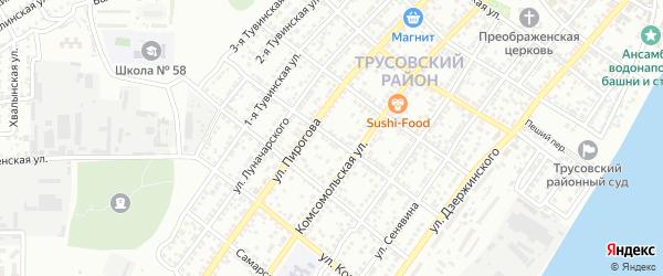 Переулок Менделеева на карте Астрахани с номерами домов