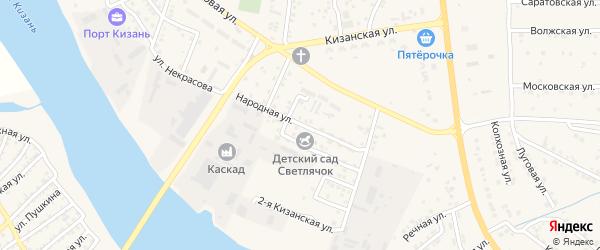Народная улица на карте села Карагали с номерами домов