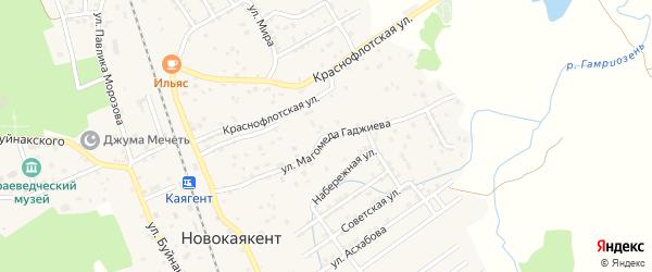 Улица М.Гаджиева на карте села Новокаякента с номерами домов