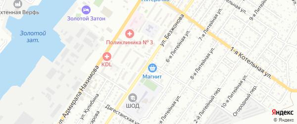 Улица Безжонова на карте Астрахани с номерами домов