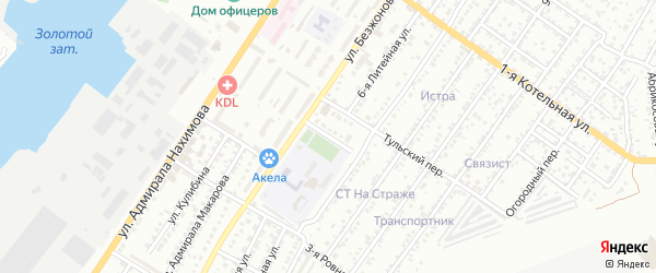 Литейный 1-й переулок на карте Астрахани с номерами домов