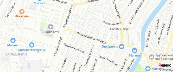 Ленинградский переулок на карте Астрахани с номерами домов