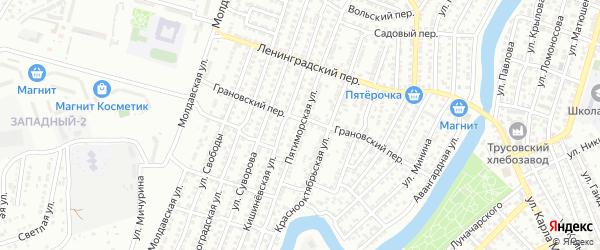 Пятиморская улица на карте Астрахани с номерами домов