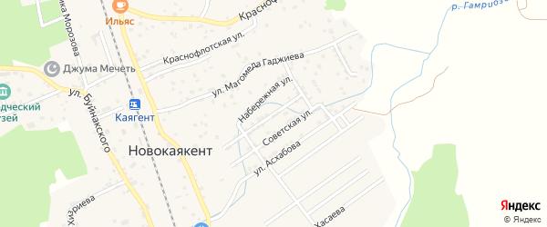 Набережная улица на карте села Новокаякента с номерами домов